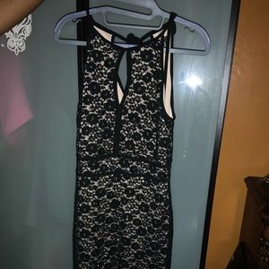 Black and Tan dress with opening in front